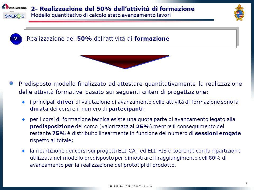 7 EL_PRJ_SAL_DAR_20100318_v1.0 2- Realizzazione del 50% dellattività di formazione Modello quantitativo di calcolo stato avanzamento lavori Predispost