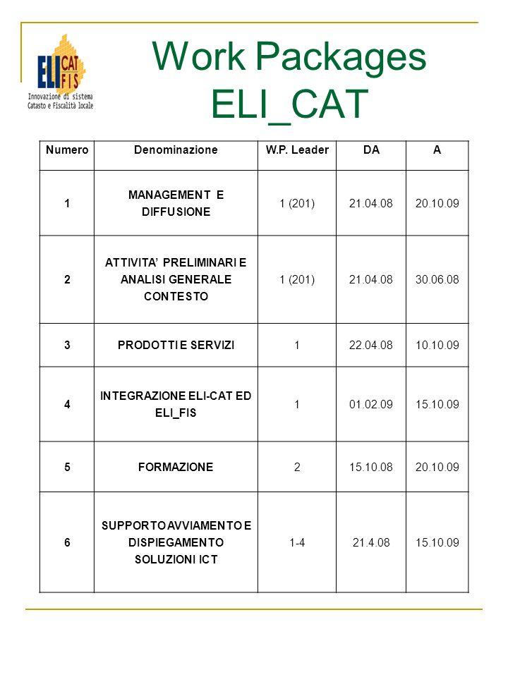 Work Packages ELI_CAT NumeroDenominazioneW.P. LeaderDAA 1 MANAGEMENT E DIFFUSIONE 1 (201)21.04.0820.10.09 2 ATTIVITA PRELIMINARI E ANALISI GENERALE CO