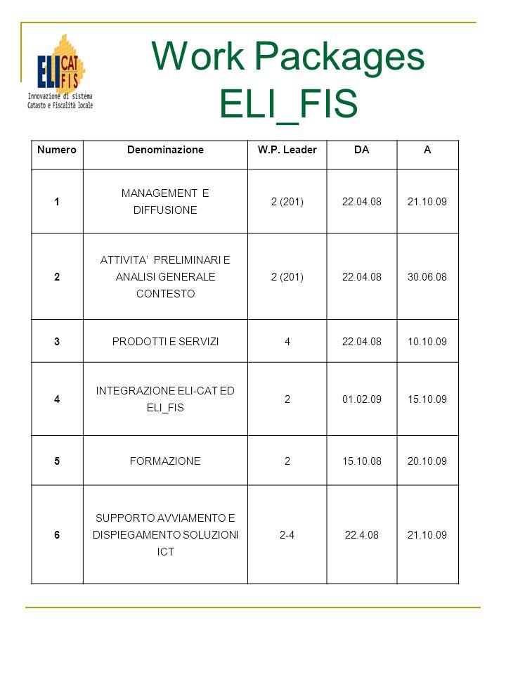 Work Packages ELI_FIS NumeroDenominazioneW.P. LeaderDAA 1 MANAGEMENT E DIFFUSIONE 2 (201)22.04.0821.10.09 2 ATTIVITA PRELIMINARI E ANALISI GENERALE CO