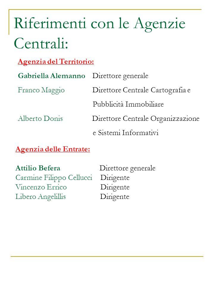 Riferimenti con le Agenzie Centrali: Agenzia del Territorio: Gabriella Alemanno Direttore generale Franco Maggio Direttore Centrale Cartografia e Pubb
