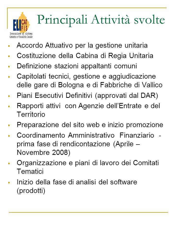 Accordo Attuativo per la gestione unitaria Costituzione della Cabina di Regia Unitaria Definizione stazioni appaltanti comuni Capitolati tecnici, gest
