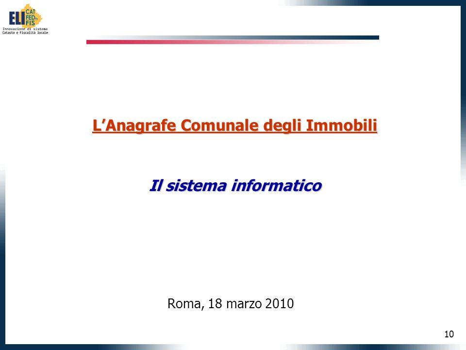 10 LAnagrafe Comunale degli Immobili Il sistema informatico Roma, 18 marzo 2010