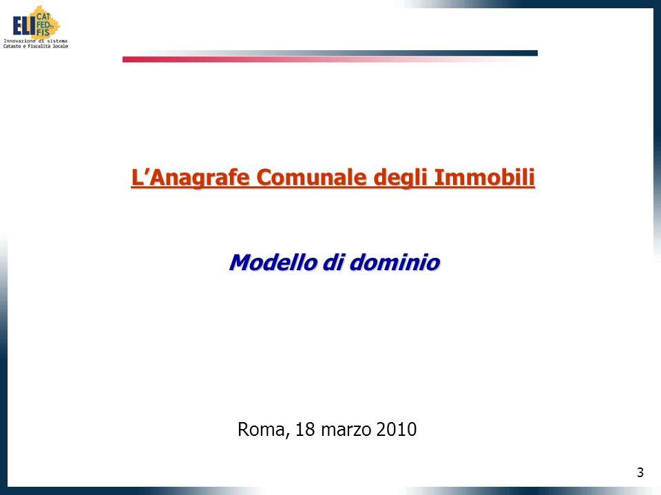14 LAnagrafe Comunale degli Immobili Semplificazione dematerializzazione Il Modello Unico Digitale per lEdilizia Roma, 18 marzo 2010