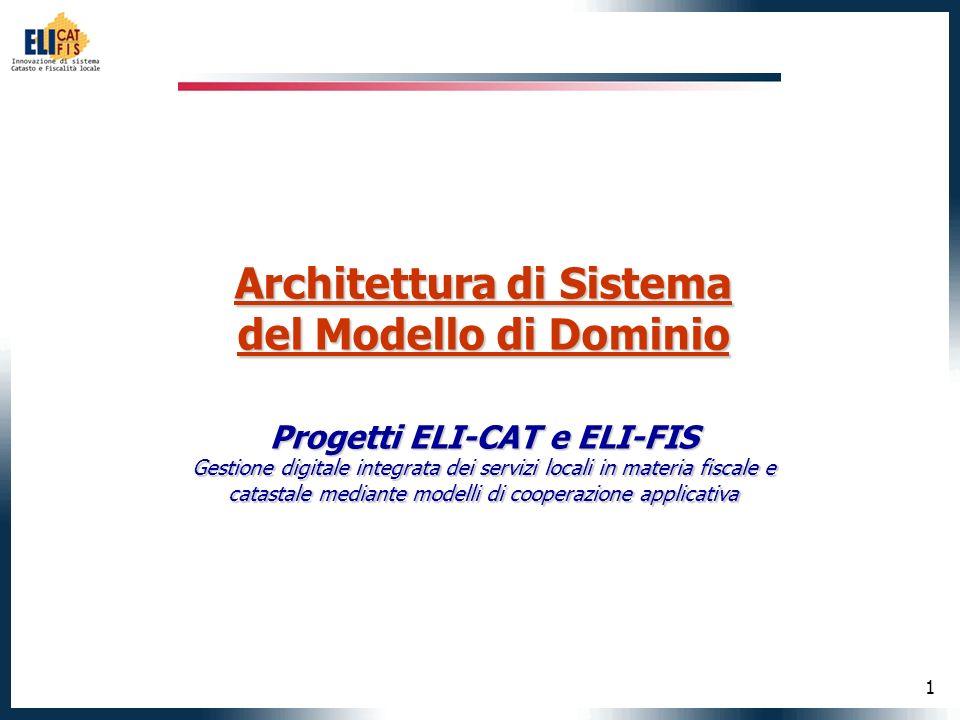 1 Architettura di Sistema del Modello di Dominio Progetti ELI-CAT e ELI-FIS Gestione digitale integrata dei servizi locali in materia fiscale e catastale mediante modelli di cooperazione applicativa