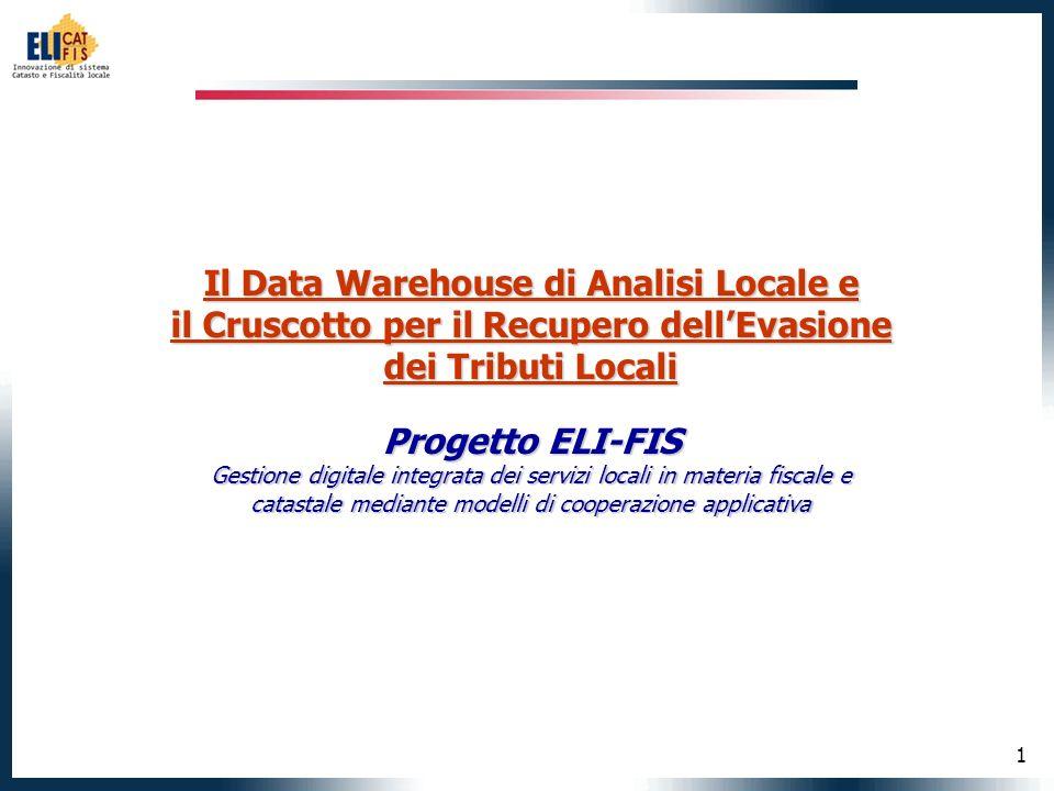 1 Il Data Warehouse di Analisi Locale e il Cruscotto per il Recupero dellEvasione dei Tributi Locali Progetto ELI-FIS Gestione digitale integrata dei