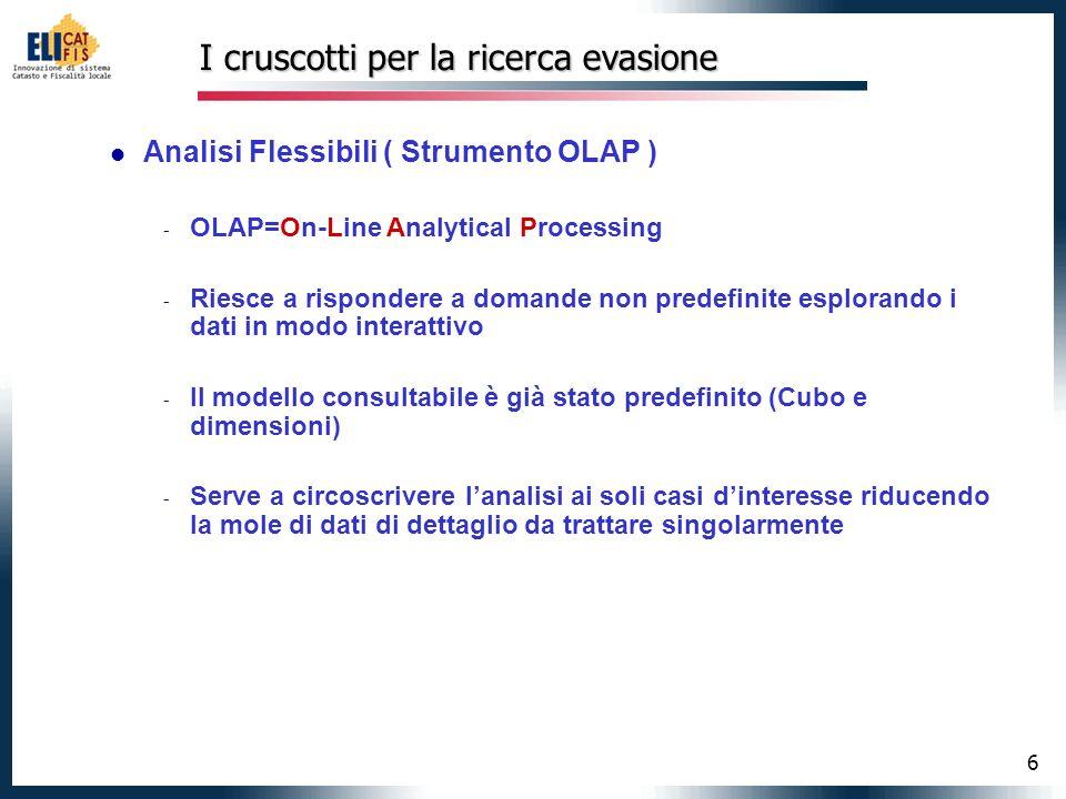 6 I cruscotti per la ricerca evasione Analisi Flessibili ( Strumento OLAP ) - OLAP=On-Line Analytical Processing - Riesce a rispondere a domande non p