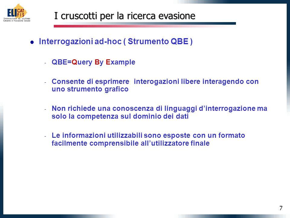 7 I cruscotti per la ricerca evasione Interrogazioni ad-hoc ( Strumento QBE ) - QBE=Query By Example - Consente di esprimere interogazioni libere inte