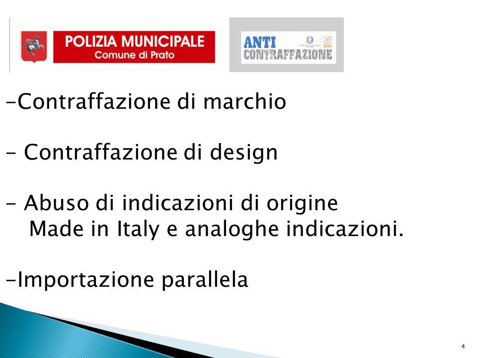 4 -Contraffazione di marchio - Contraffazione di design - Abuso di indicazioni di origine Made in Italy e analoghe indicazioni.