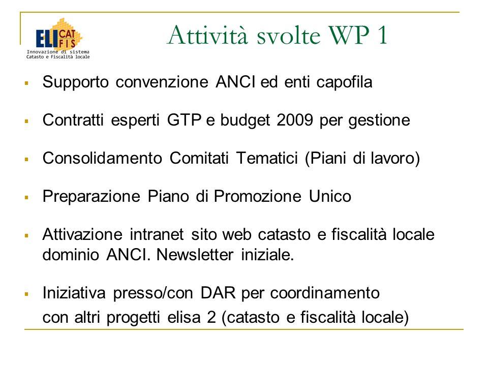 Supporto convenzione ANCI ed enti capofila Contratti esperti GTP e budget 2009 per gestione Consolidamento Comitati Tematici (Piani di lavoro) Prepara