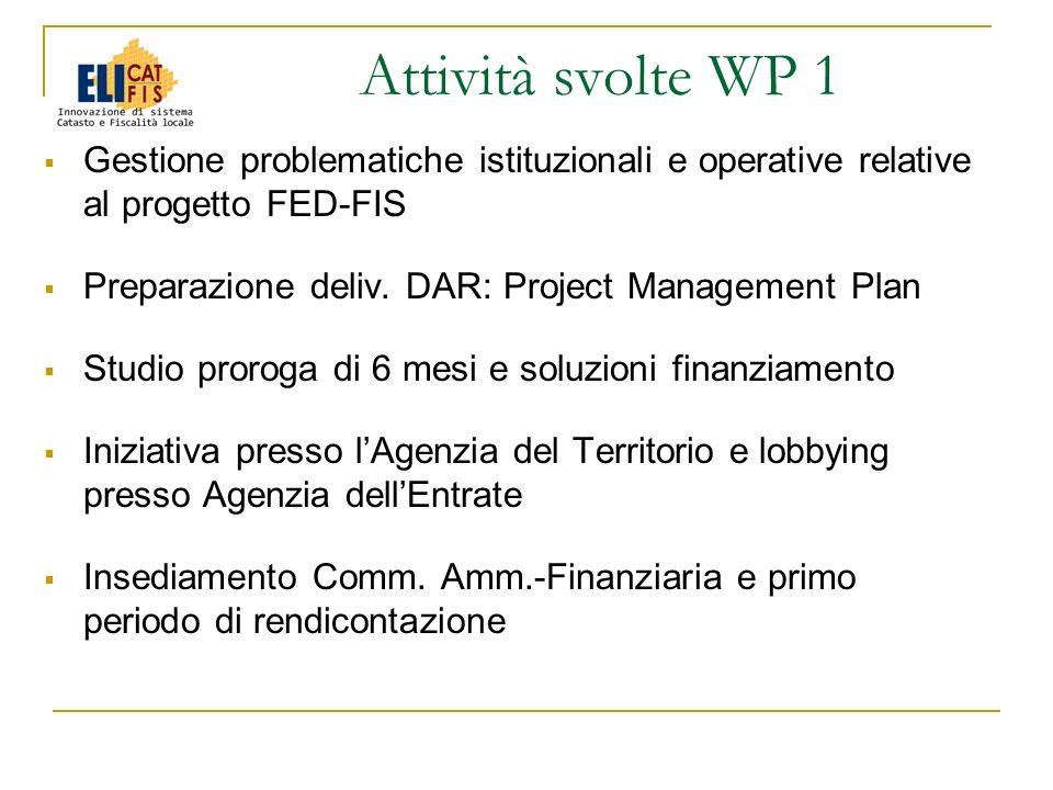 Gestione problematiche istituzionali e operative relative al progetto FED-FIS Preparazione deliv. DAR: Project Management Plan Studio proroga di 6 mes