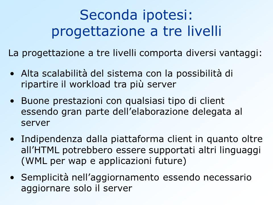 Seconda ipotesi: progettazione a tre livelli La progettazione a tre livelli comporta diversi vantaggi: Alta scalabilità del sistema con la possibilità