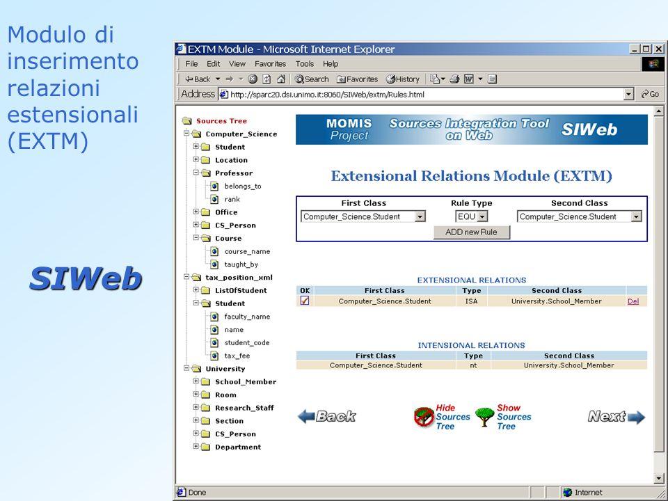 Modulo di inserimento relazioni estensionali (EXTM) SIWeb