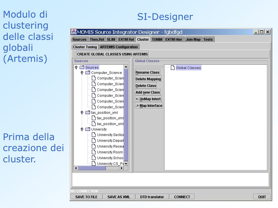 Modulo di clustering delle classi globali (Artemis) SI-Designer Prima della creazione dei cluster.