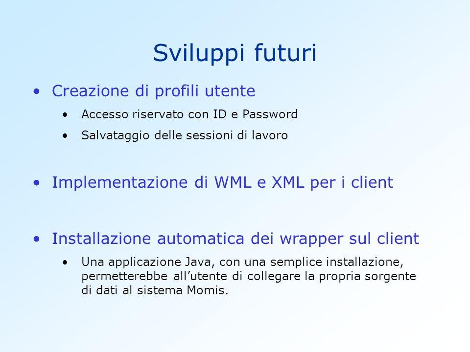 Sviluppi futuri Creazione di profili utente Accesso riservato con ID e Password Salvataggio delle sessioni di lavoro Implementazione di WML e XML per i client Installazione automatica dei wrapper sul client Una applicazione Java, con una semplice installazione, permetterebbe allutente di collegare la propria sorgente di dati al sistema Momis.