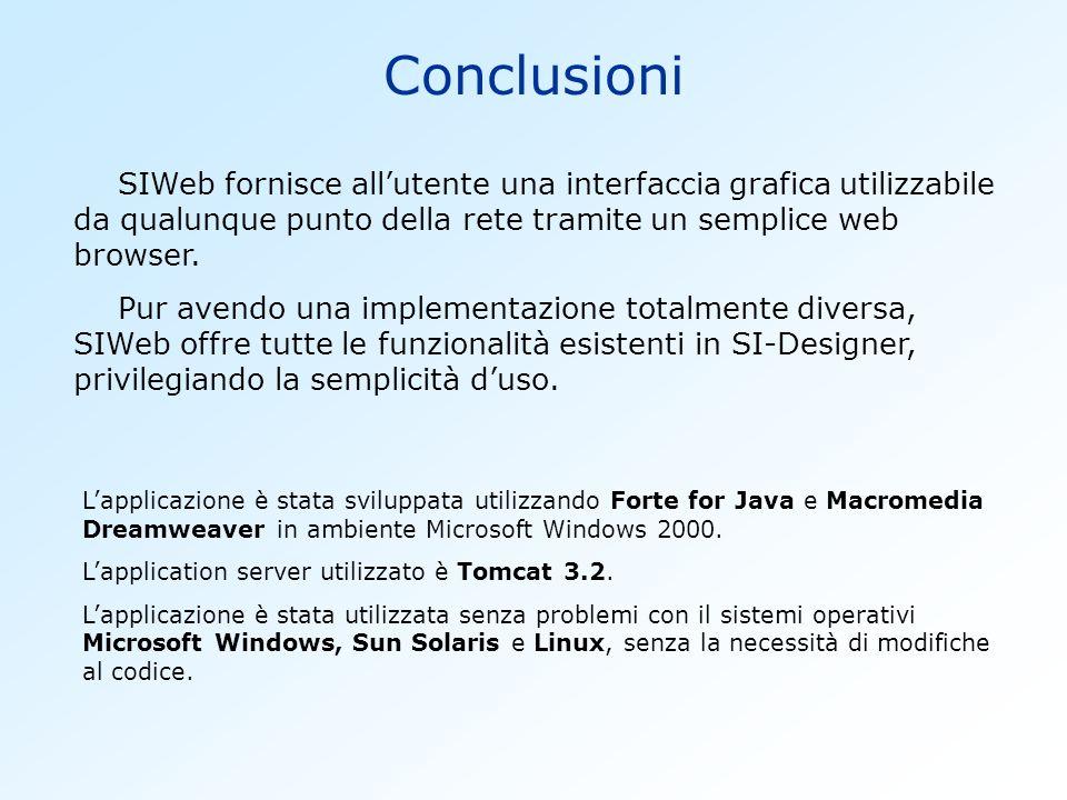 Conclusioni SIWeb fornisce allutente una interfaccia grafica utilizzabile da qualunque punto della rete tramite un semplice web browser. Pur avendo un