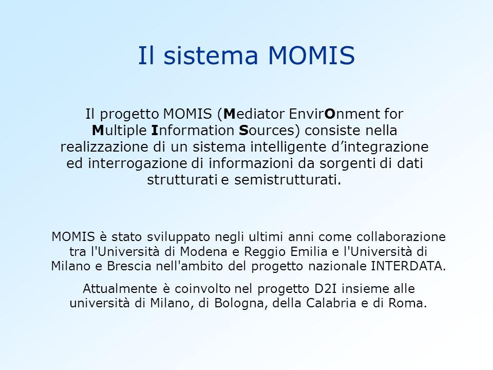 Il sistema MOMIS Il progetto MOMIS (Mediator EnvirOnment for Multiple Information Sources) consiste nella realizzazione di un sistema intelligente dintegrazione ed interrogazione di informazioni da sorgenti di dati strutturati e semistrutturati.