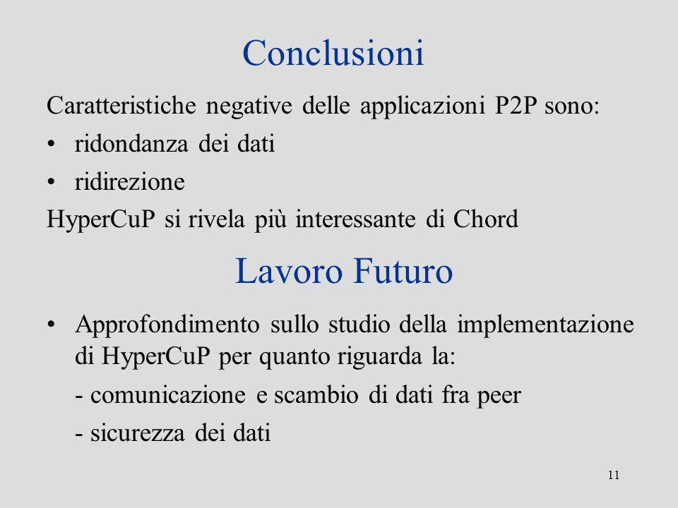 11 Conclusioni Caratteristiche negative delle applicazioni P2P sono: ridondanza dei dati ridirezione HyperCuP si rivela più interessante di Chord Lavo