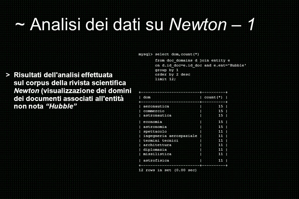 ~ Analisi dei dati su Newton – 1 mysql> select dom,count(*) from doc_domains d join entity e on d.id_doc=e.id_doc and e.ent='Hubble' group by 1 order