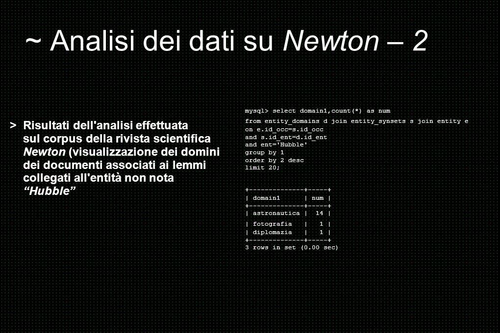 ~ Analisi dei dati su Newton – 2 > Risultati dell analisi effettuata sul corpus della rivista scientifica Newton (visualizzazione dei domini dei documenti associati ai lemmi collegati all entità non nota Hubble mysql> select domain1,count(*) as num from entity_domains d join entity_synsets s join entity e on e.id_occ=s.id_occ and s.id_ent=d.id_ent and ent= Hubble group by 1 order by 2 desc limit 20; +--------------+-----+ | domain1 | num | +--------------+-----+ | astronautica | 14 | | fotografia | 1 | | diplomazia | 1 | +--------------+-----+ 3 rows in set (0.00 sec)