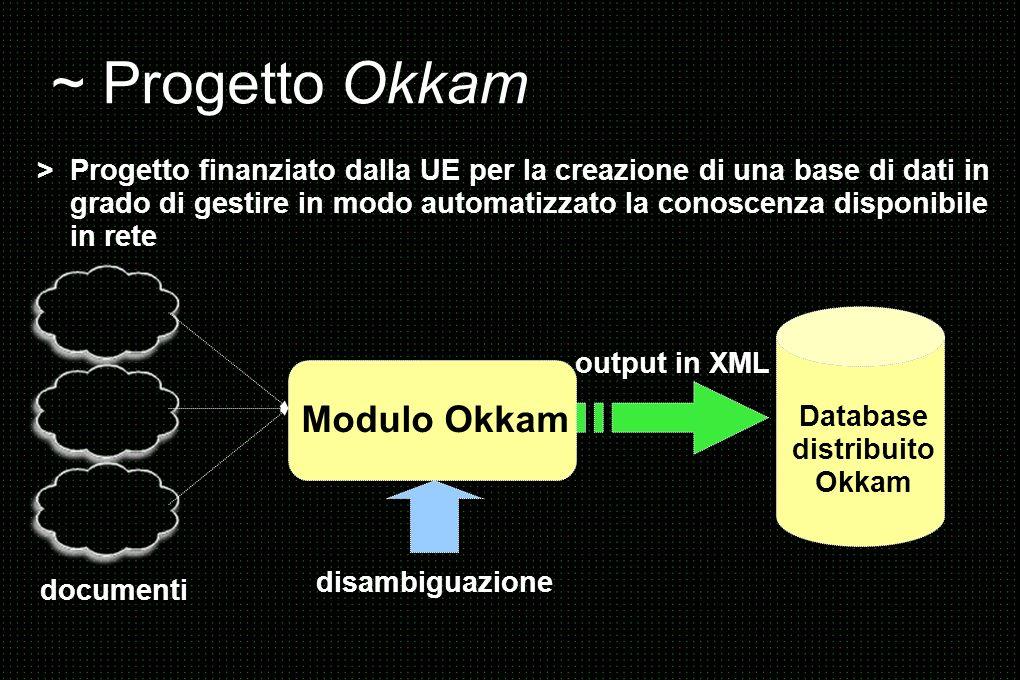 ~ Progetto Okkam > Progetto finanziato dalla UE per la creazione di una base di dati in grado di gestire in modo automatizzato la conoscenza disponibile in rete documenti Modulo Okkam disambiguazione Database distribuito Okkam output in XML