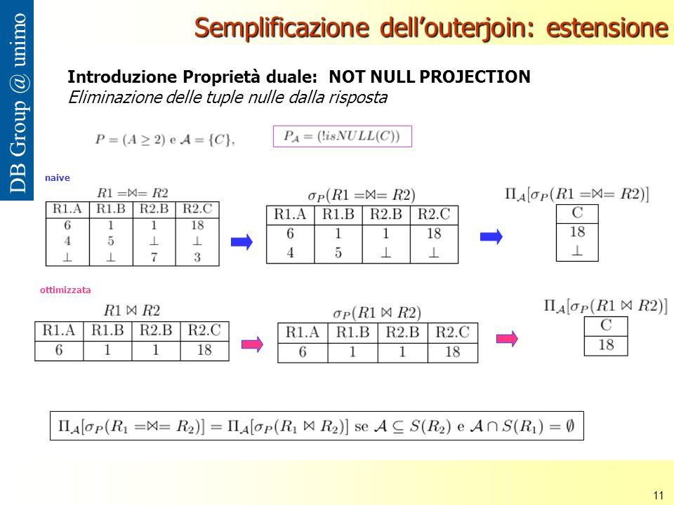 Nana Mbinkeu Rodrigue Carlos 11 DB Group @ unimo Semplificazione dellouterjoin: estensione Introduzione Proprietà duale: NOT NULL PROJECTION Eliminazione delle tuple nulle dalla risposta naive ottimizzata