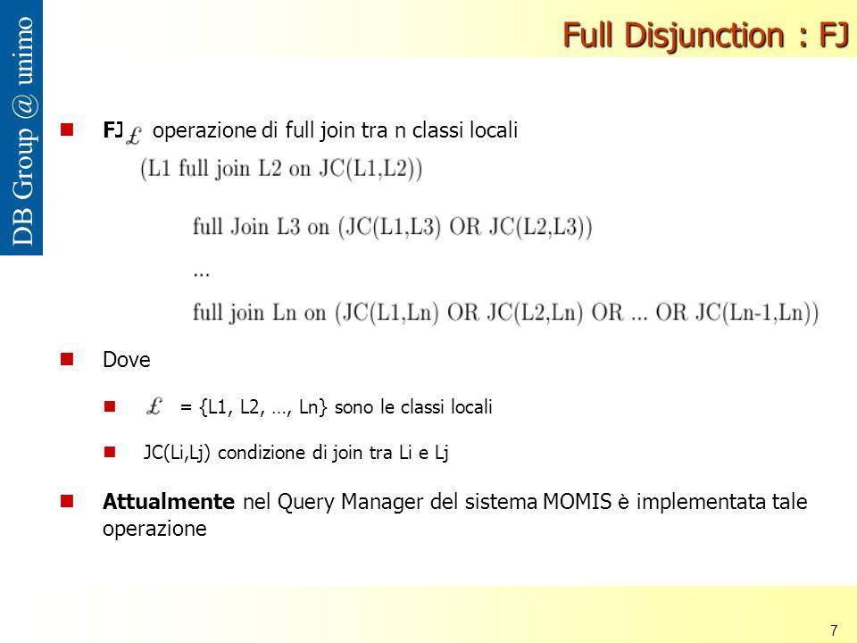 Nana Mbinkeu Rodrigue Carlos 7 DB Group @ unimo Full Disjunction : FJ Dove = {L1, L2, …, Ln} sono le classi locali JC(Li,Lj) condizione di join tra Li e Lj Attualmente nel Query Manager del sistema MOMIS è implementata tale operazione FJ : operazione di full join tra n classi locali