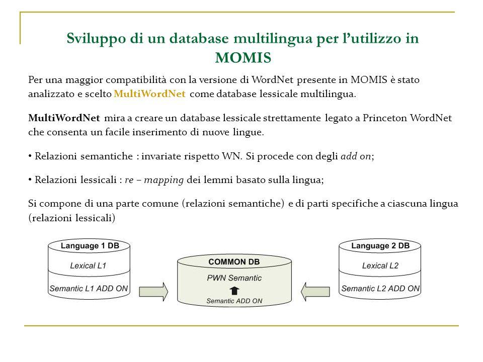 Sviluppo di un database multilingua per lutilizzo in MOMIS Per una maggior compatibilità con la versione di WordNet presente in MOMIS è stato analizza