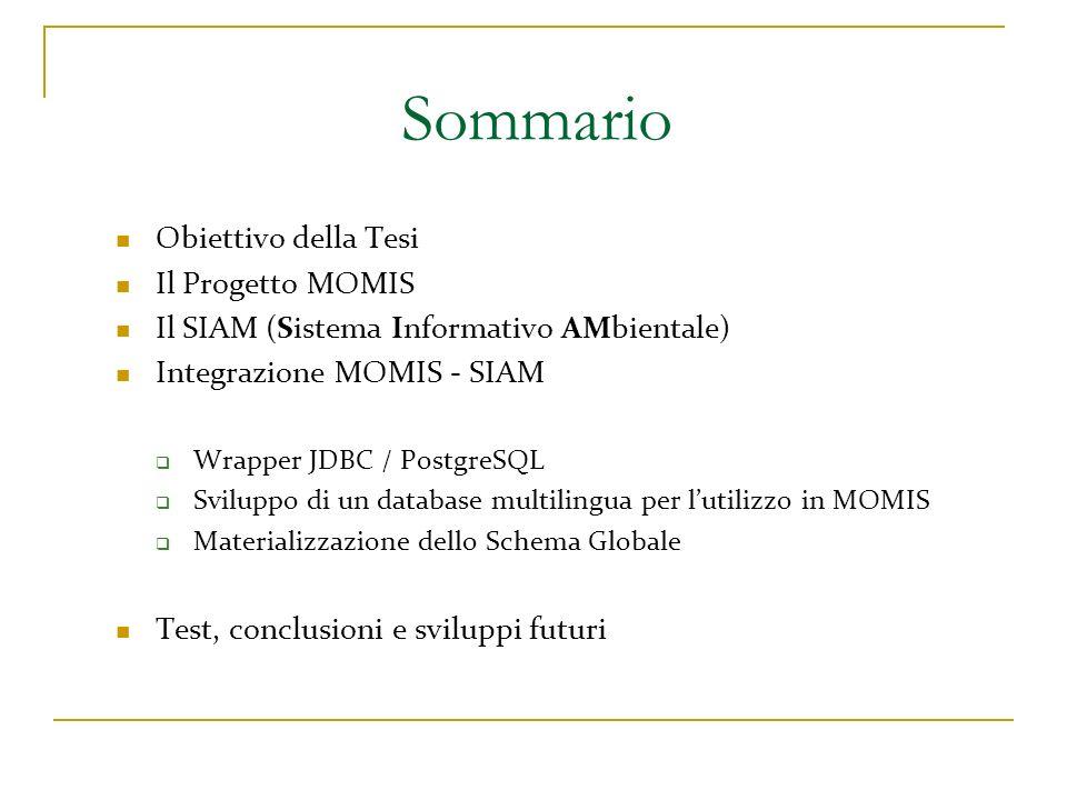 Sommario Obiettivo della Tesi Il Progetto MOMIS Il SIAM (Sistema Informativo AMbientale) Integrazione MOMIS - SIAM Wrapper JDBC / PostgreSQL Sviluppo