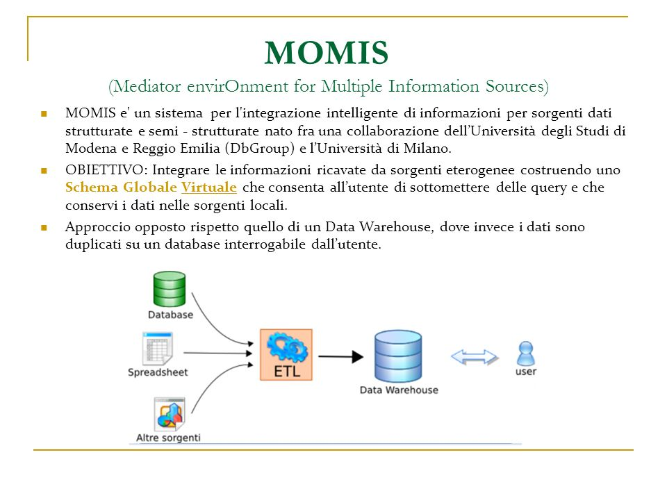 MOMIS ( Mediator envirOnment for Multiple Information Sources)