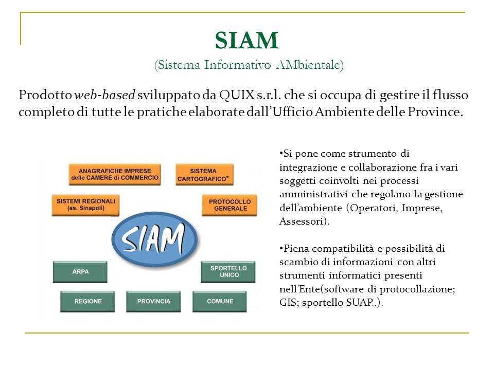 SIAM (Sistema Informativo AMbientale) Si pone come strumento di integrazione e collaborazione fra i vari soggetti coinvolti nei processi amministrativ