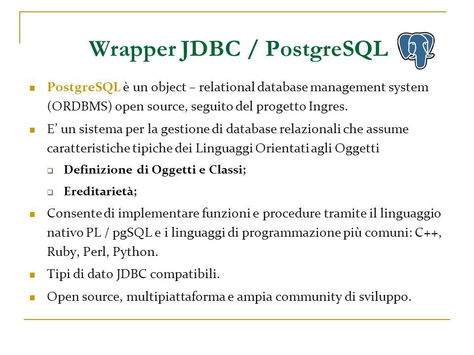 Wrapper JDBC / PostgreSQL Creazione della classe WrapperJdbcCore_PostgreSQL, estensione delle interfacce Java già presenti.