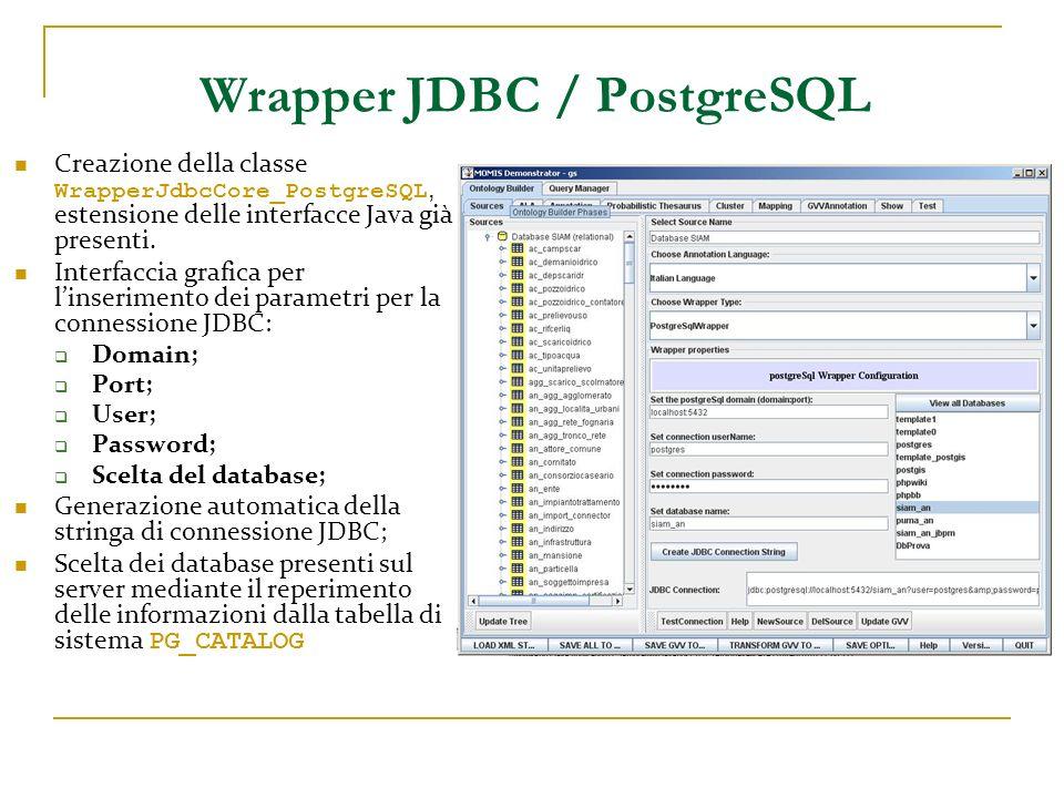 Wrapper JDBC / PostgreSQL Creazione della classe WrapperJdbcCore_PostgreSQL, estensione delle interfacce Java già presenti. Interfaccia grafica per li