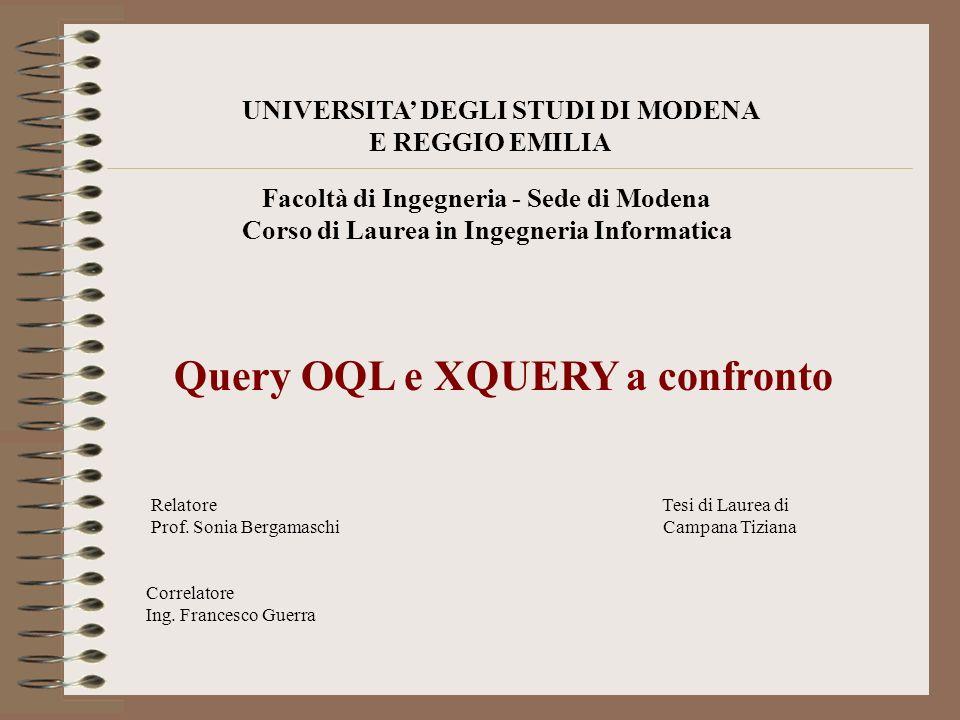 UNIVERSITA DEGLI STUDI DI MODENA E REGGIO EMILIA Facoltà di Ingegneria - Sede di Modena Corso di Laurea in Ingegneria Informatica Query OQL e XQUERY a