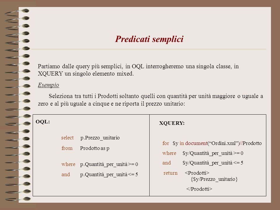 Predicati semplici Partiamo dalle query più semplici, in OQL interrogheremo una singola classe, in XQUERY un singolo elemento mixed. Esempio Seleziona