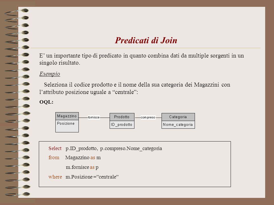 Predicati di Join E un importante tipo di predicato in quanto combina dati da multiple sorgenti in un singolo risultato. Esempio Seleziona il codice p