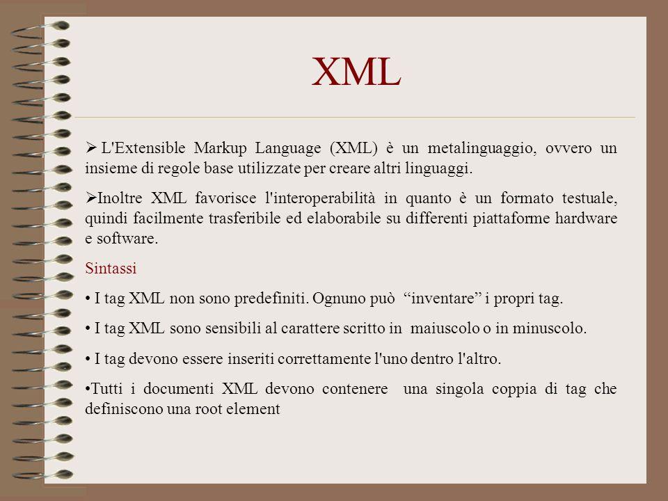 XML L'Extensible Markup Language (XML) è un metalinguaggio, ovvero un insieme di regole base utilizzate per creare altri linguaggi. Inoltre XML favori