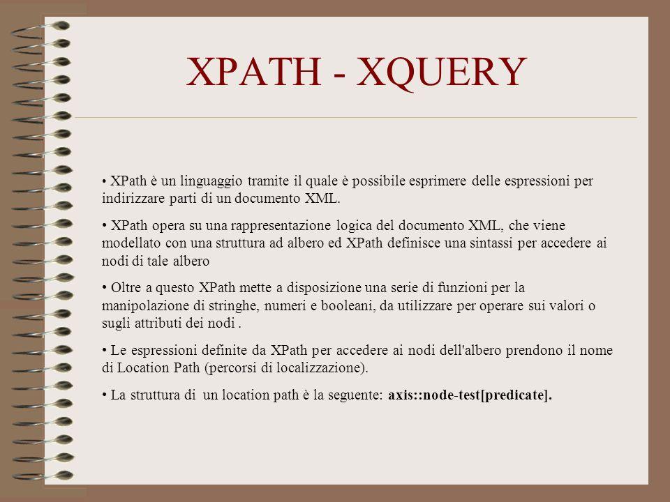 XPATH - XQUERY XPath è un linguaggio tramite il quale è possibile esprimere delle espressioni per indirizzare parti di un documento XML. XPath opera s