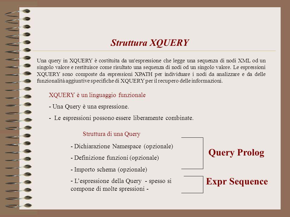 Una query in XQUERY è costituita da un'espressione che legge una sequenza di nodi XML od un singolo valore e restituisce come risultato una sequenza d