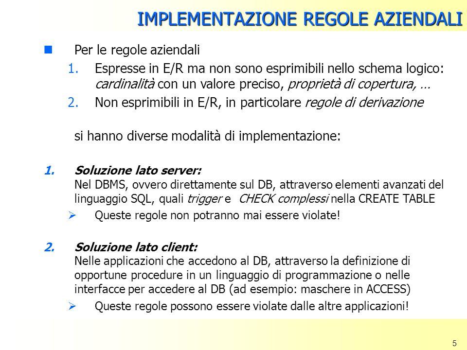 5 Per le regole aziendali 1.Espresse in E/R ma non sono esprimibili nello schema logico: cardinalità con un valore preciso, proprietà di copertura, …