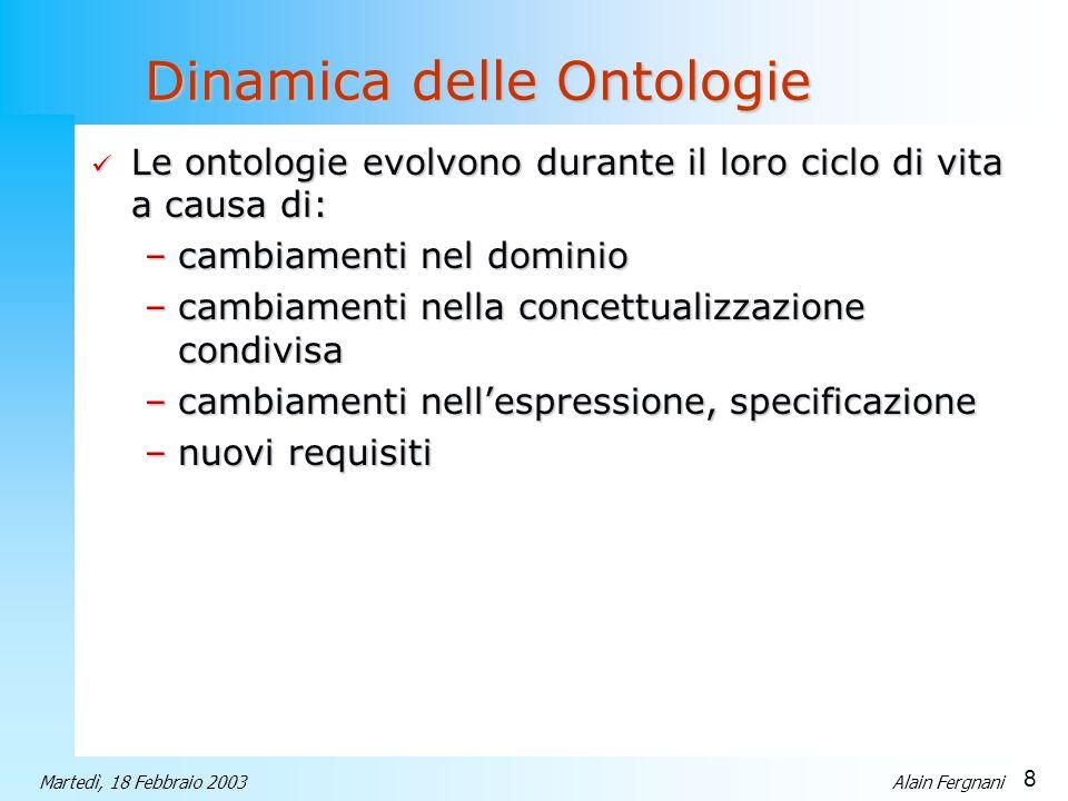 8 Martedì, 18 Febbraio 2003Alain Fergnani Dinamica delle Ontologie Le ontologie evolvono durante il loro ciclo di vita a causa di: Le ontologie evolvo