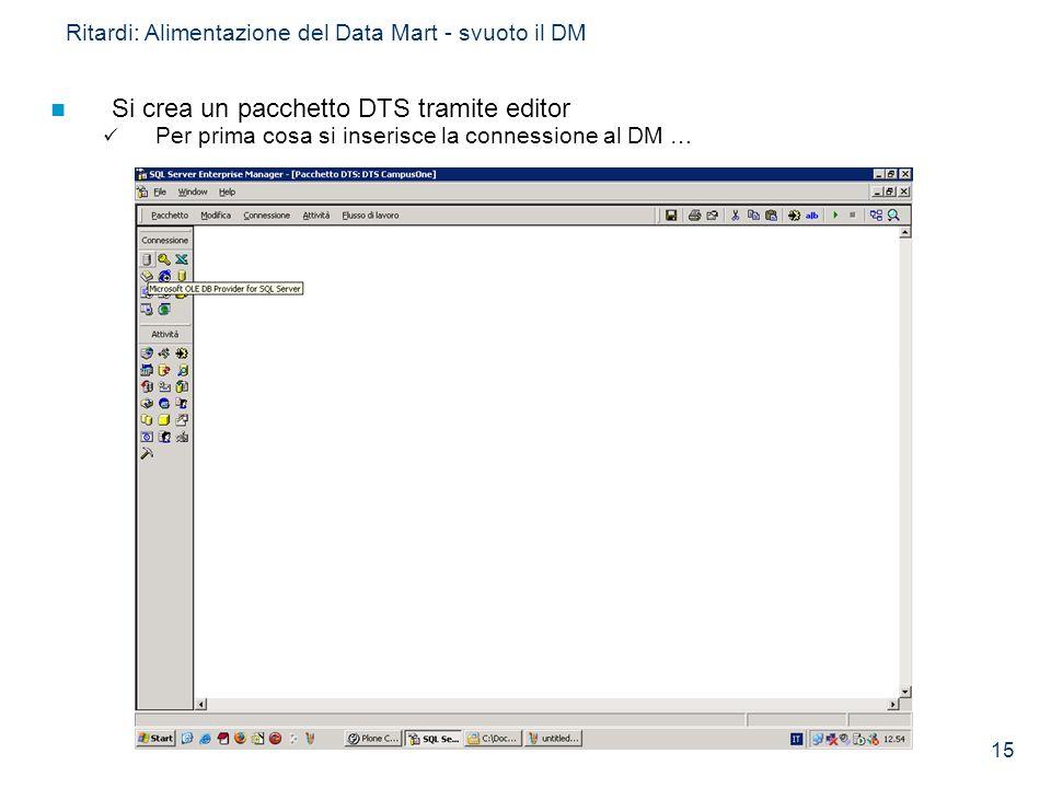 15 Ritardi: Alimentazione del Data Mart - svuoto il DM Si crea un pacchetto DTS tramite editor Per prima cosa si inserisce la connessione al DM …