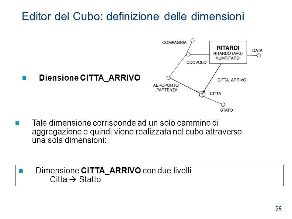 28 Diensione CITTA_ARRIVO Dimensione CITTA_ARRIVO con due livelli Citta Statto Tale dimensione corrisponde ad un solo cammino di aggregazione e quindi