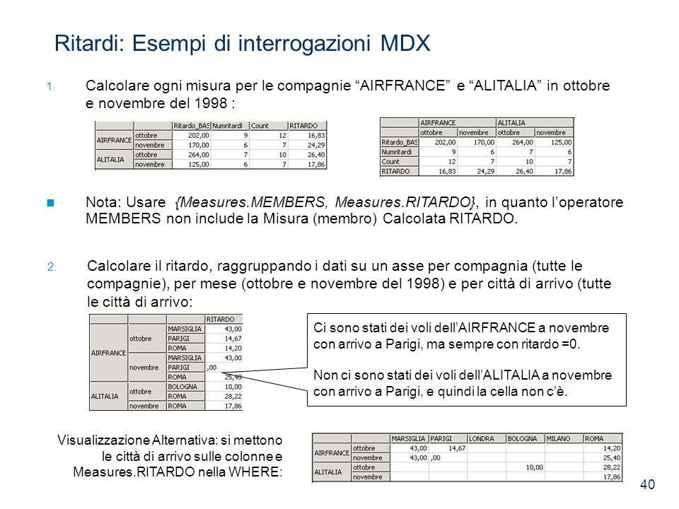40 1. Calcolare ogni misura per le compagnie AIRFRANCE e ALITALIA in ottobre e novembre del 1998 : Ritardi: Esempi di interrogazioni MDX Nota: Usare {