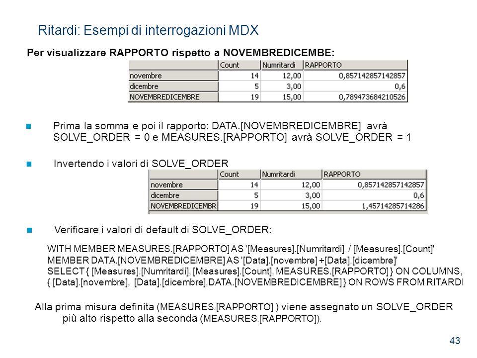 43 Per visualizzare RAPPORTO rispetto a NOVEMBREDICEMBE: Ritardi: Esempi di interrogazioni MDX Prima la somma e poi il rapporto: DATA.[NOVEMBREDICEMBR