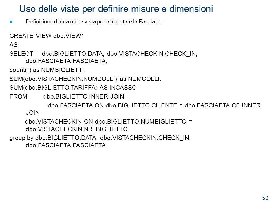 50 Uso delle viste per definire misure e dimensioni Definizione di una unica vista per alimentare la Fact table CREATE VIEW dbo.VIEW1 AS SELECT dbo.BI