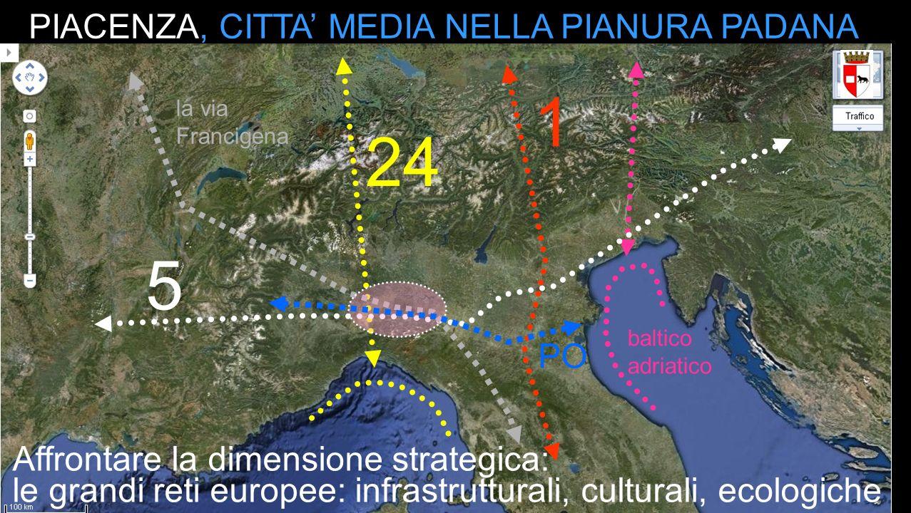 5 24 1 baltico adriatico PIACENZA, CITTA MEDIA NELLA PIANURA PADANA la via Francigena le grandi reti europee: infrastrutturali, culturali, ecologiche PO Affrontare la dimensione strategica: