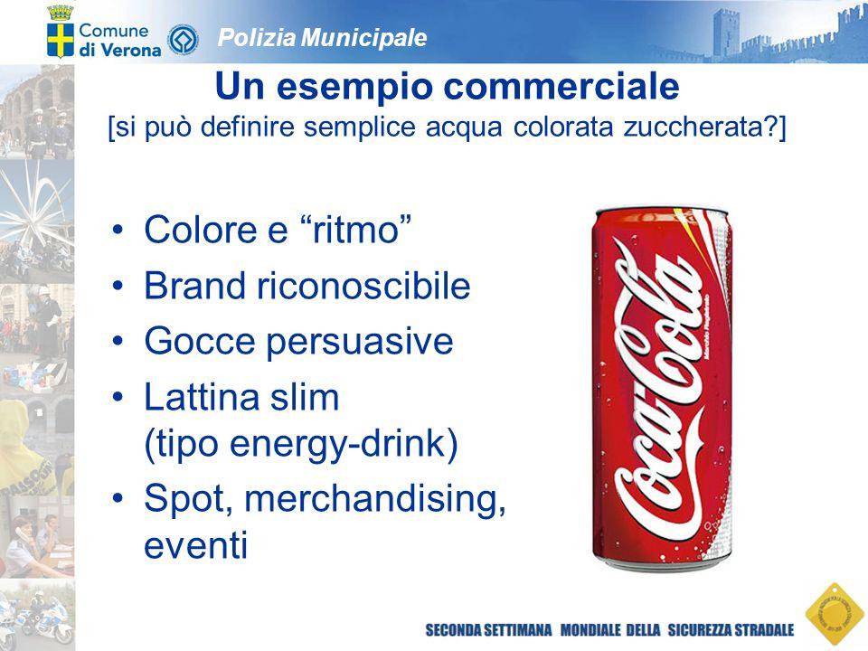 Polizia Municipale Un esempio commerciale [si può definire semplice acqua colorata zuccherata ] Colore e ritmo Brand riconoscibile Gocce persuasive Lattina slim (tipo energy-drink) Spot, merchandising, eventi