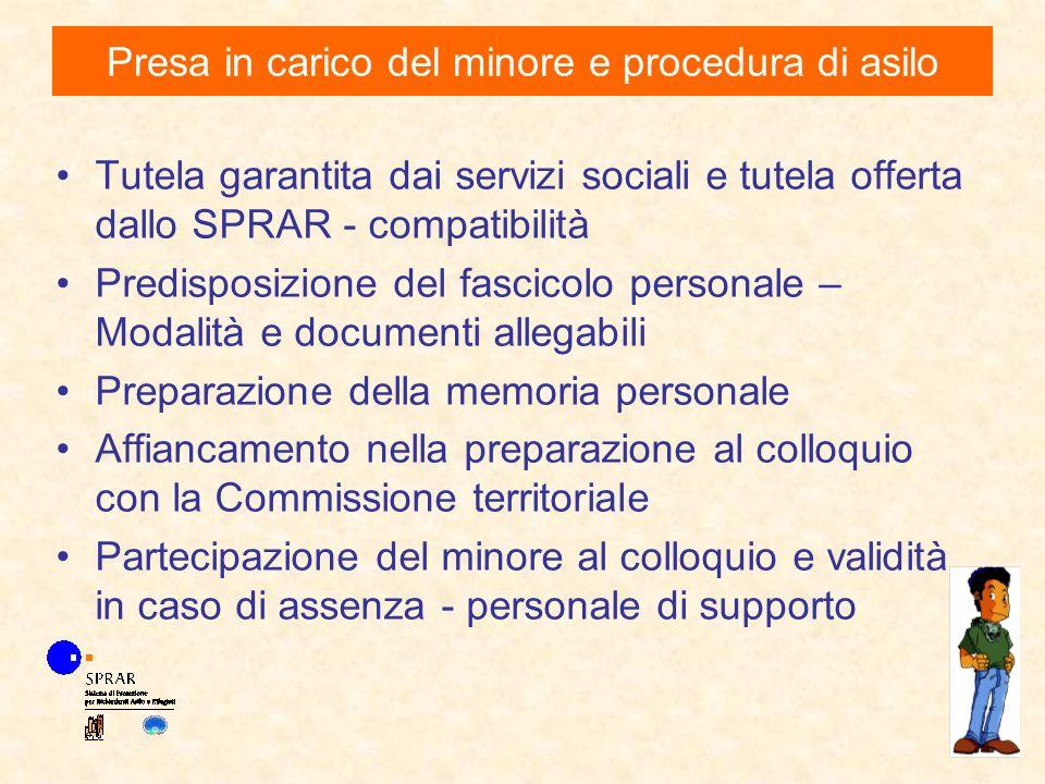 Tutela garantita dai servizi sociali e tutela offerta dallo SPRAR - compatibilità Predisposizione del fascicolo personale – Modalità e documenti alleg