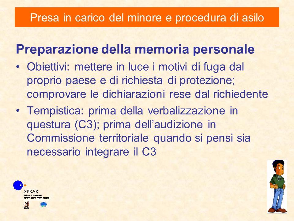 Preparazione della memoria personale Obiettivi: mettere in luce i motivi di fuga dal proprio paese e di richiesta di protezione; comprovare le dichiar