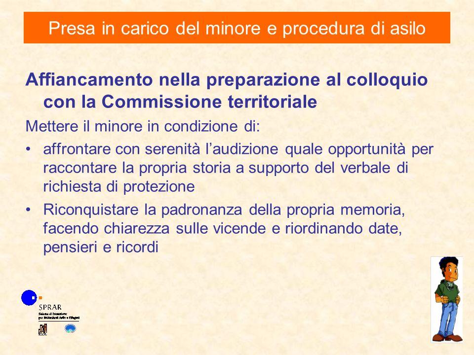 Affiancamento nella preparazione al colloquio con la Commissione territoriale Mettere il minore in condizione di: affrontare con serenità laudizione q